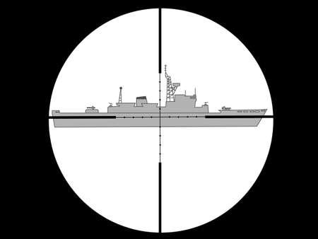 scramble: Warship to shoot vector illustration. Illustration