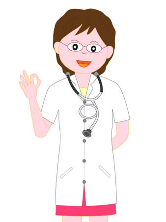 Poses for female doctors Illustration