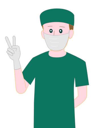 surgeon operating: Doctors surgery poses illustration. Illustration