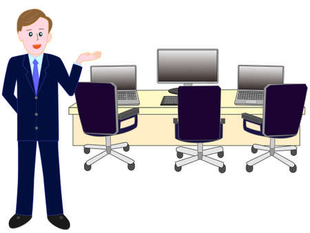 Guide to corporate vector illustration on white background.