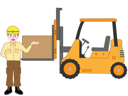 Description of the workers using fork-lift trucks  イラスト・ベクター素材