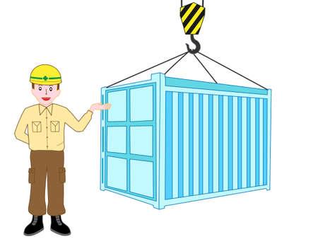 コンテナーをアンロードする労働者の説明  イラスト・ベクター素材