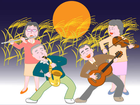 Senior citizens took place on the night of the mid-autumn full moon concert