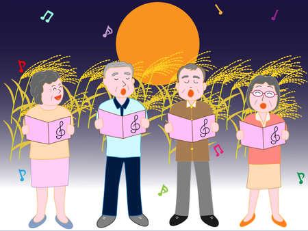 高齢者は中秋の満月コンサートの夜に起こった