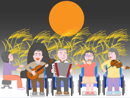 The concert of the autumn night care. Illustration