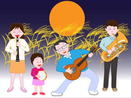 家族コンサート秋の満月の夜 写真素材 - 84880552