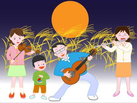 家族コンサート秋の満月の夜 写真素材 - 84880553