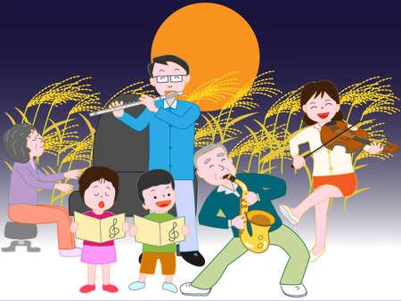 家族コンサート秋の満月の夜 写真素材 - 85036100