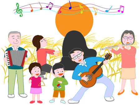 家族コンサート秋の満月の夜