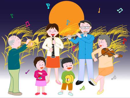 家族コンサート秋の満月の夜 写真素材 - 85036099