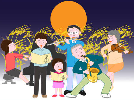 秋の満月コンサートの家族 写真素材 - 85026064
