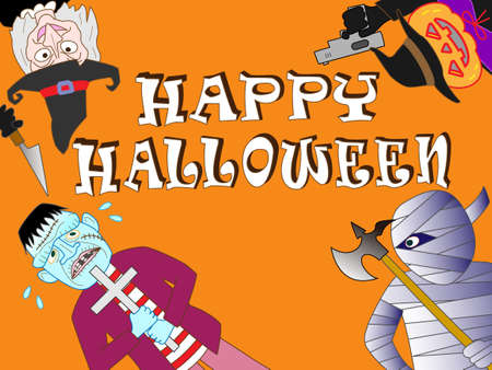 Horror Halloween with various monster characters