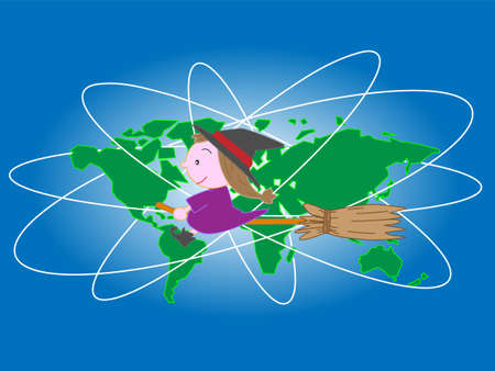 Halloween witch on broom flying around the world, vector illustration.