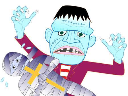 incident: Frankenstein Halloween day to find prey. Illustration