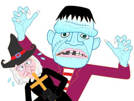 Frankenstein Halloween day to find prey. Illustration