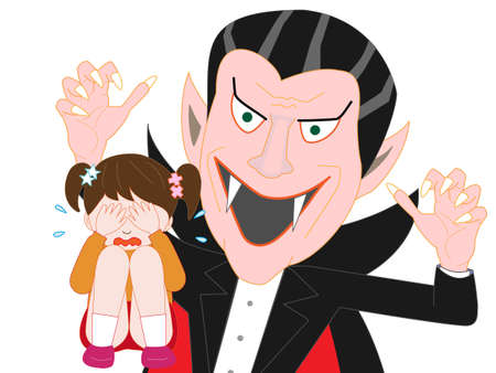 Children crying, afraid of Dracula. Vector illustration.