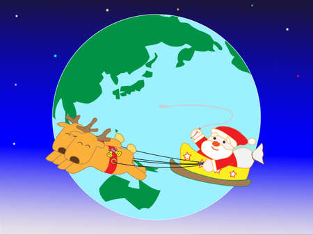 Santa Claus on Christmas day busily around the world. Illustration