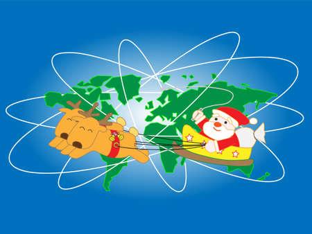 Santa Claus el día de Navidad ocupado en todo el mundo.
