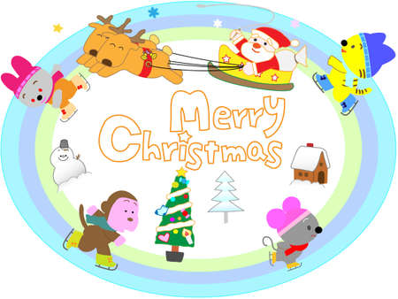 lapin: Santa Claus on Christmas day with the animals play in the winter sports.