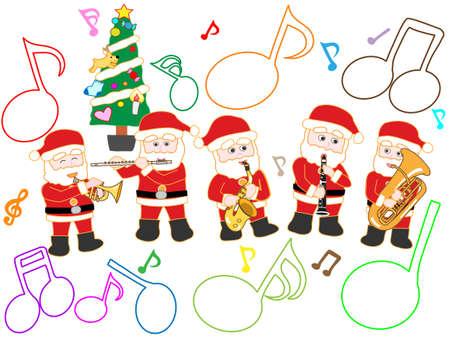 Illustratie van een leuk kerstconsert Stock Illustratie