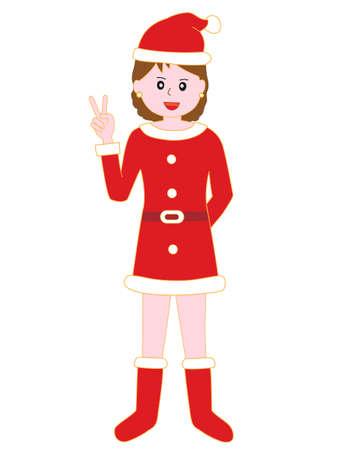 Womens Santa Claus  victory sign Illustration