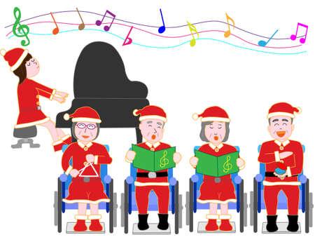 クリスマス コンサートのため高齢者のための車いす 写真素材 - 86918039