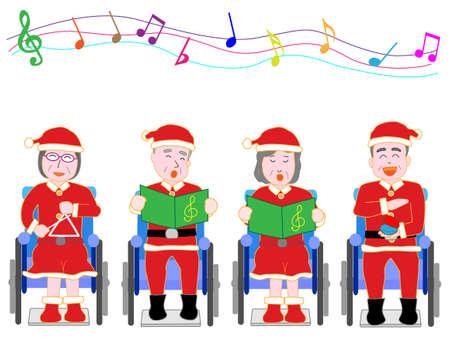クリスマス コンサートのため高齢者のための車いす 写真素材 - 86918040