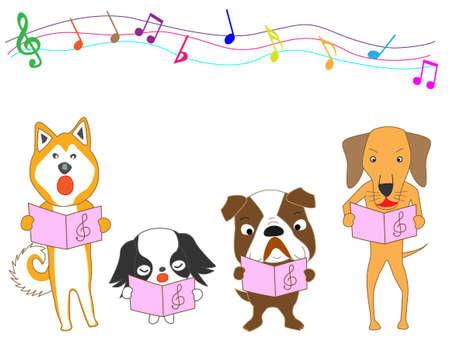 akita: Dogs concert vector illustration. Illustration