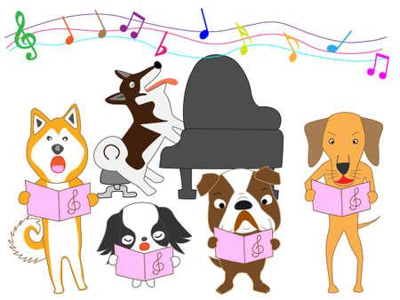 Dogs concert vector illustration. Illustration