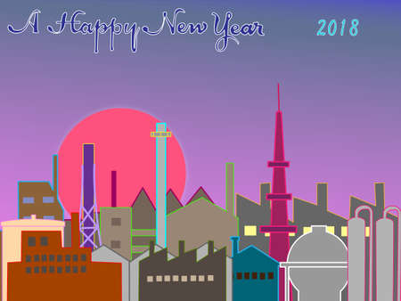 Sunrise in the industrial zone of the year 2018 Illustration
