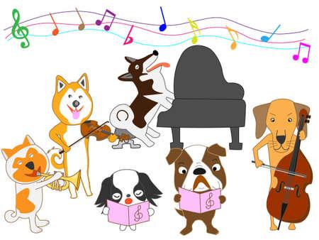 akita: Dogs concert Vector illustration.