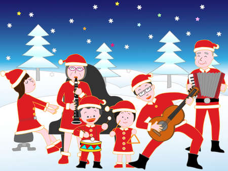 Christmas concert of the family. Illustration