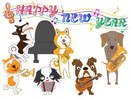 2018 投稿犬コンサート白い背景の上。