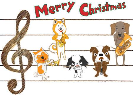 白い背景に犬のクリスマスコンサート、ベクトルイラスト。