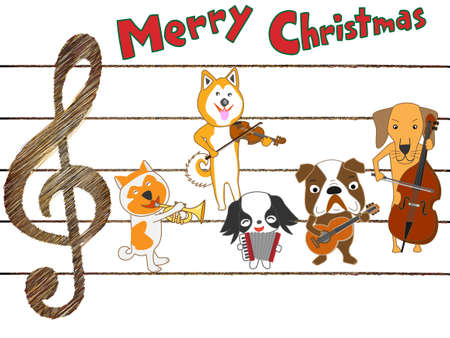 symphonic: Dog Christmas concert on white background, vector illustration.