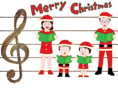 家族のベクトル図とのクリスマス コンサート 写真素材 - 88534219
