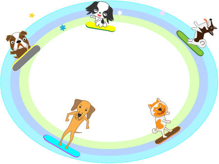 new: Dogs playing in the winter sports the title frame.