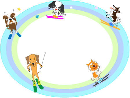 cute: Dogs playing in the winter sports the title frame.