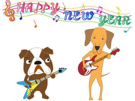 hapy: Happy new year posting dog concert.