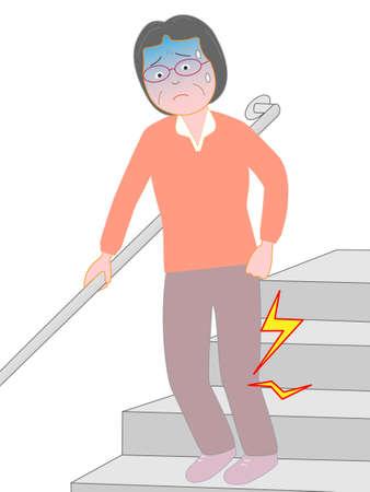 Elderly women suffer from knee pain