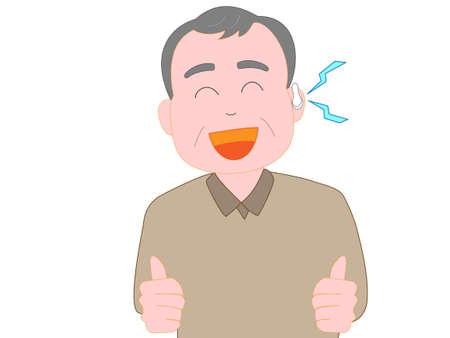 Hearing elderly man wearing a hearing aid. Illusztráció