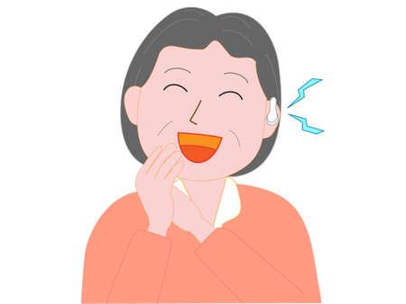Elderly deaf woman wearing a hearing aid. Illustration