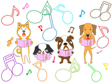Dogs singing, with colorful musical notes on white background. Vector illustration. Stock Illustratie