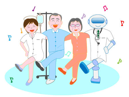 Friends dance with artificial intelligence robot doctors and nurses and elderly patients