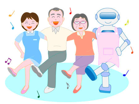 Friends dance robot care for caregivers and seniors Illustration