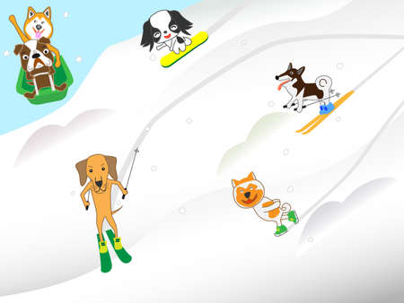 Dogs enjoy winter sports Illustration