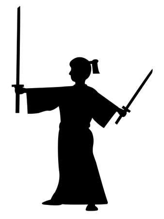 Man holding samurai swords vector silhouette.