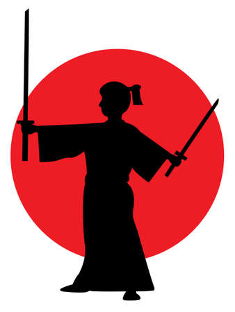 侍剣ベクトル シルエットを抱きかかえた。