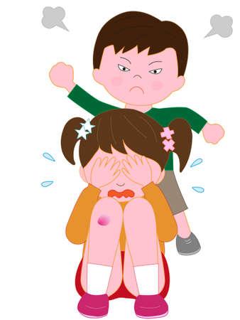 Children's bullying problem Illustration
