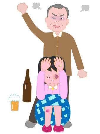 Women subjected to violence from his father, a social issue illustration